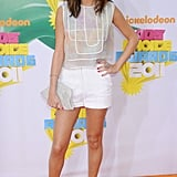 We couldn't get over Selena's cute, summery look from the 2011 Kids' Choice Awards; the starlet wore a top and short-shorts from Christian Cota, which she paired with teal Camilla Skovgaard heels.