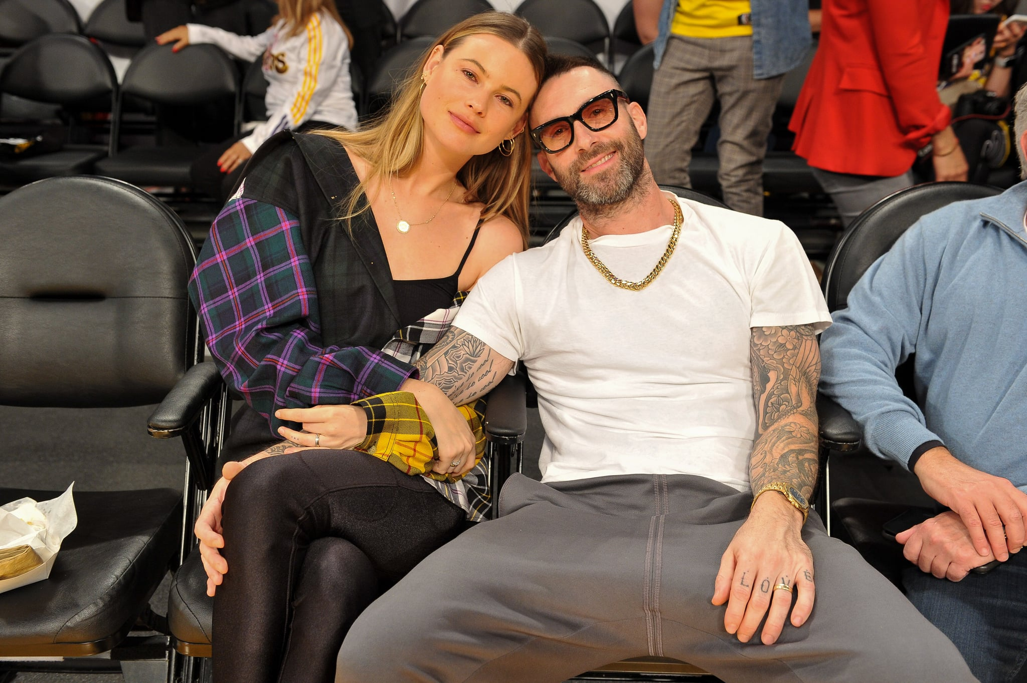 LOS ANGELES, CA - OCTOBER 20:  Adam Levine and Behati Prinsloo attend a basketball game between the Los Angeles Lakers and the Houston Rockets at Staples Center on October 20, 2018 in Los Angeles, California.  (Photo by Allen Berezovsky/Getty Images)