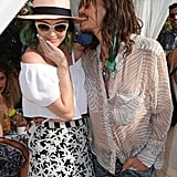 Steven Tyler bit Katy Perry's hat at the Lacoste party.