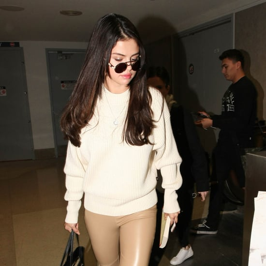 Selena Gomez's Leather Leggings at Airport Nov. 2016