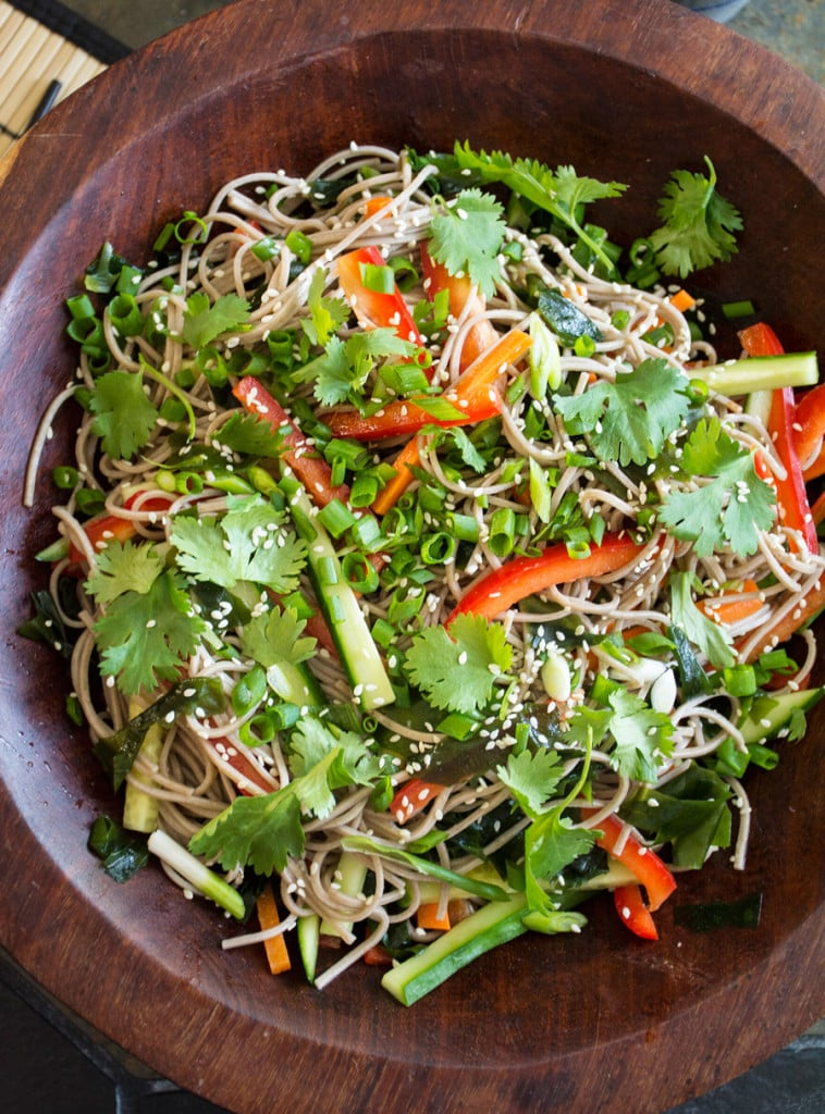 Spicy Soba Noodle Salad With Carrots, Bell Peppers, and Cucumbers