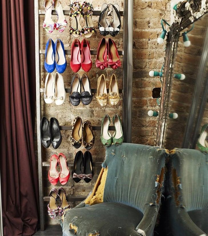narrow storage solutions like this vertical shoe rack. Black Bedroom Furniture Sets. Home Design Ideas