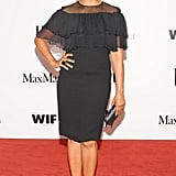 Garcelle Beauvais showed off her curves in a Max Mara black silk ruffled sheath.  Source: Owen Kolasinski/BFAnyc.com
