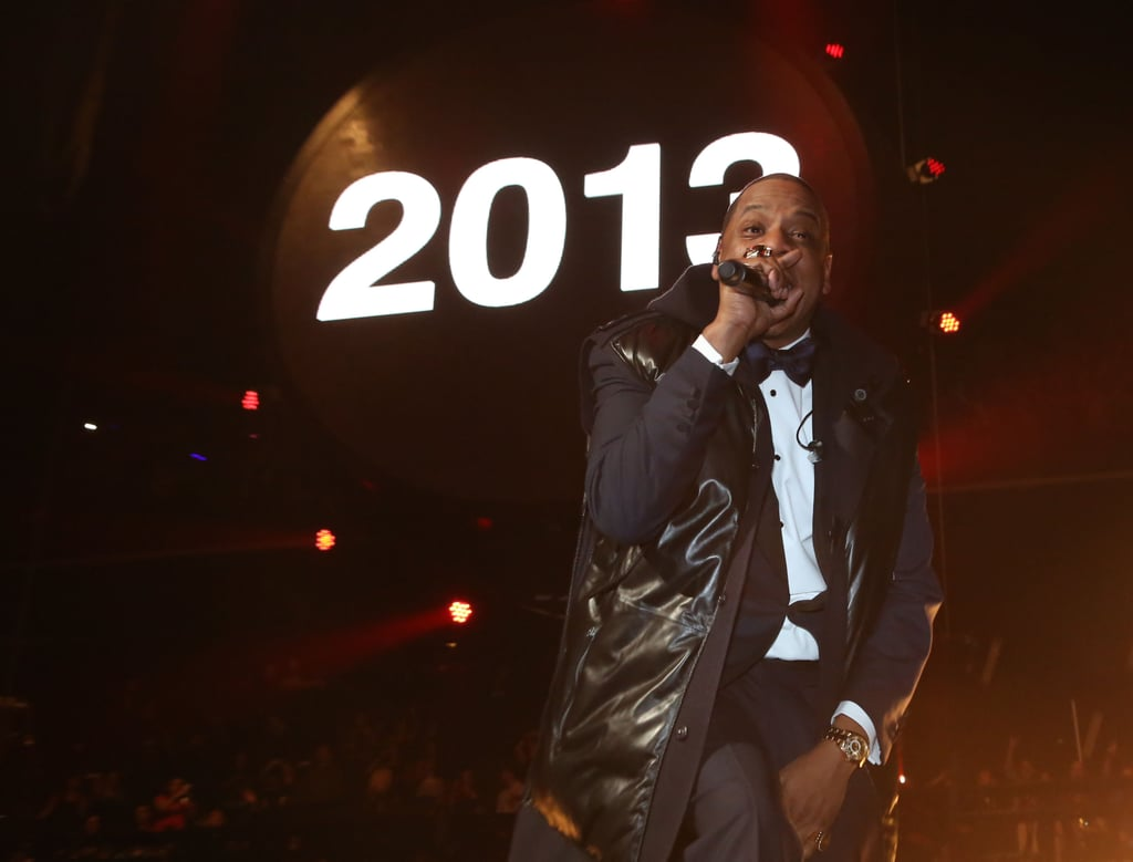 Jay-Z took the stage for an NYE performance at Brooklyn's Barclays center.