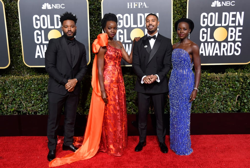 Black Panther dominated 2018, so it only makes sense that the cast would start 2019 off right by hitting the Golden Globes red carpet looking to-die-for.  Stars like Danai Gurira, Lupita Nyong'o, and Michael B. Jordan linked up with the Golden Globe-nominated film's director, Ryan Coogler, for a group photo that are so gorgeous, they're honestly hard to directly look at with human eyeballs. Nevertheless, I continued gazing upon the beautiful cast, finding it hard to tear myself away from Gurira's shimmering gown (in a shade of Dora Milaje-approved red, naturally) and Nyong'o's fringed ensemble. (Jordan and Coogler don't look too shabby, either.) Take a deep breath, sit down, and check out the best photos of the Black Panther cast at the 2019 Golden Globes, ahead.      Related:                                                                                                           Announcing the 2019 Golden Globe Nominations!