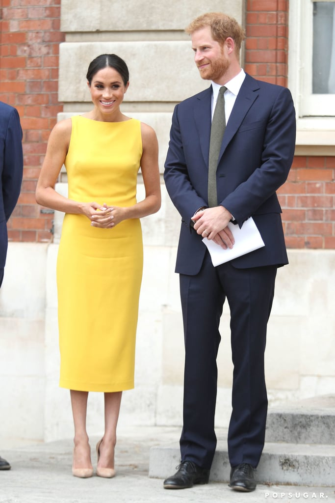 Prince Harry and Meghan Markle made a stunning appearance when they attended the Your Commonwealth Youth Challenge reception at London's Marlborough House on Thursday. Harry was all smiles in a navy suit, while Meghan looked like a ray of sunshine in a yellow dress. Seriously, how do these two always manage to look so good together? Even though Queen Elizabeth II wasn't in attendance this time around, the royal duo still kept their PDA to a minimum during the youth-focused event.  A month before Harry and Meghan's wedding, the queen named Harry her Commonwealth Youth Ambassador. He also confirmed that Meghan would be by his side as he undertook this role, which we saw last month when they attended the Queen's Young Leaders Awards at Buckingham Palace. Harry and Meghan are set to make another appearance on July 9 for Prince Louis's christening, and we can hardly wait!      Related:                                                                                                           Harry and Meghan's Royal Milestones Are Even Sweeter When Seen Side by Side With Will and Kate's