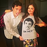 Lucy Hale wore a charity shirt with her Pretty Little Liars costar Ian Harding's face on it. Source: Instagram user lucyhale