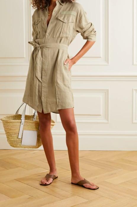 Alex Mill Keeper Belted Linen Mini Shirt Dress ($203.40)