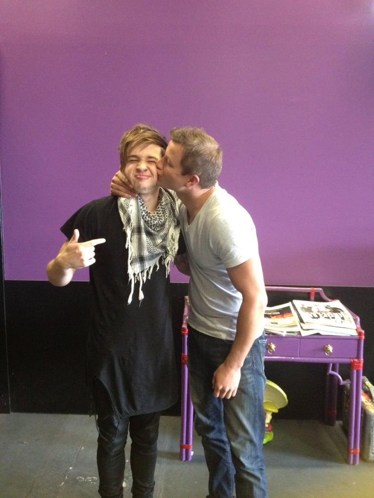 The X Factor host Luke Jacobz gave last year's winner Reece Mastin a big kiss. Source: Twitter user lukejacobz