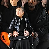 Kim Kardashian, North West, and Kanye West at NYFW
