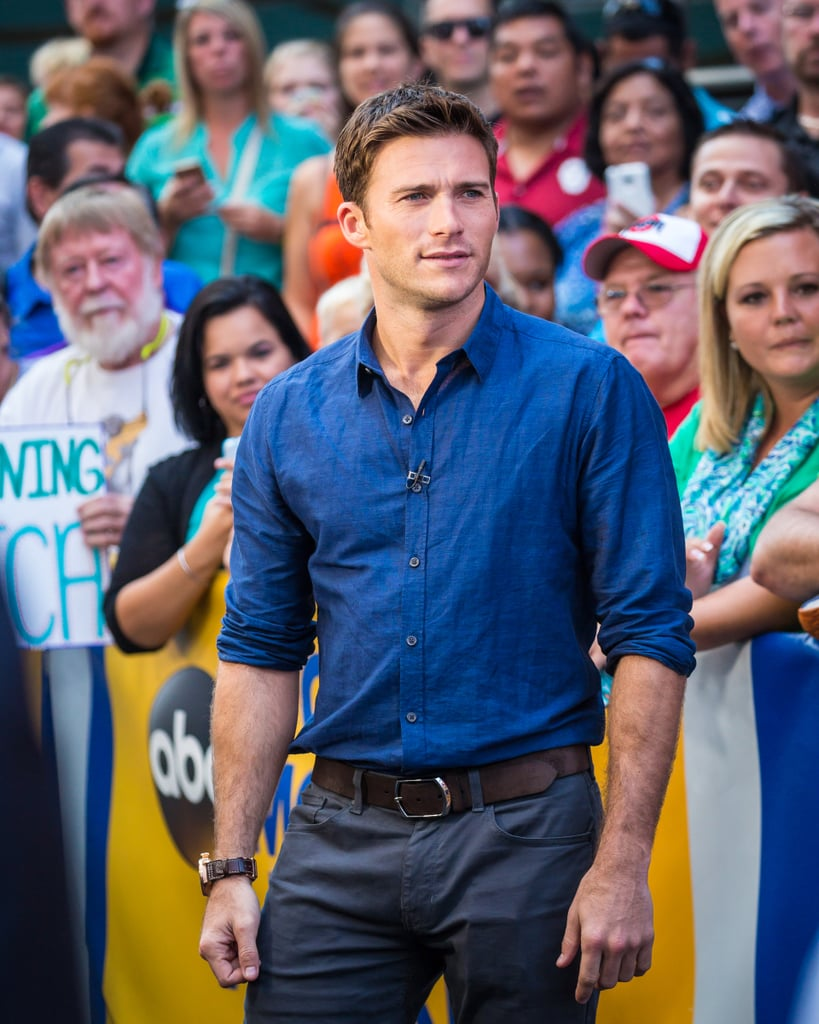 Scott Eastwood hit up Good Morning America in NYC on Wednesday, where he had his trademark smolder set to overdrive. Sadly he wasn't shirtless, but the actor matched his baby blues to his button-down, smiling (and squinting) for photographers and laughing it up with some adoring fans. If these photos aren't nearly enough to quench your Scott thirst, just know that thanks to his role in Suicide Squad and the upcoming Fast 8 film, we're going to be seeing a whole lot more of him.