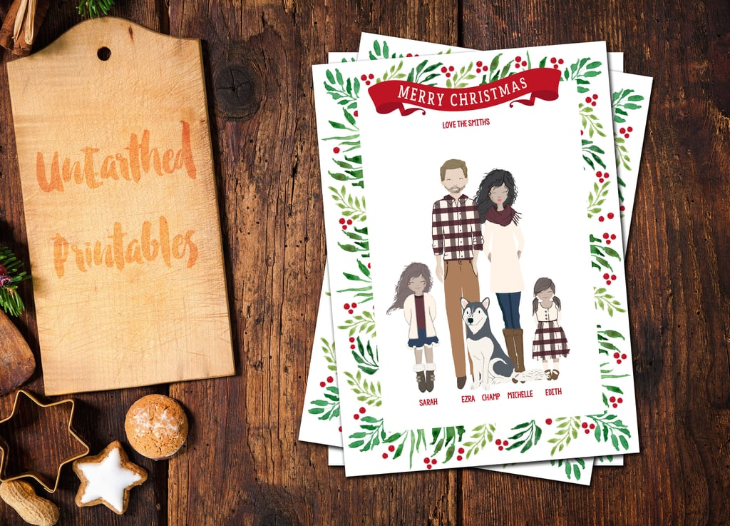 Custom Illustrated Family Christmas Card From Etsy 55 And Up