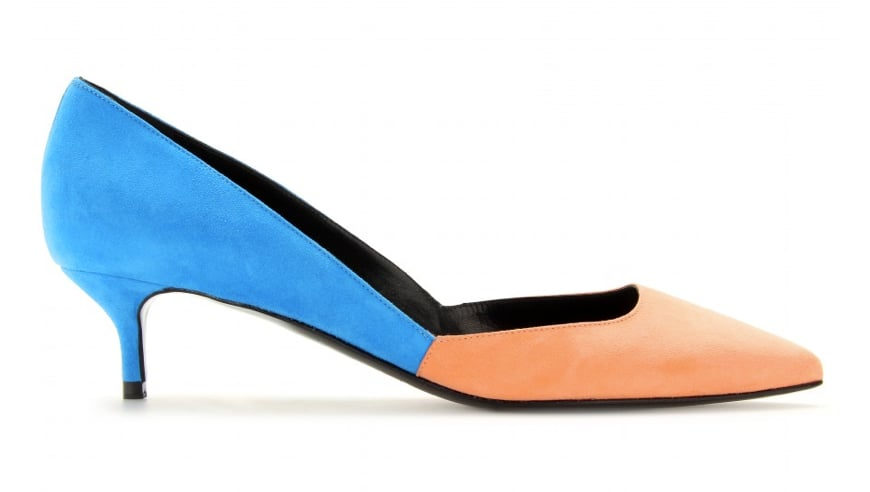 For the funkier style-setter, this Pierre Hardy classic colorblocked pump ($342, originally $591) pairs an irresistible color duo — electric blue and saturate peach — to achieve a seriously playful effect.