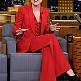 Even when Evan isn't on the red carpet, she still chooses a suit. The star wore a fiery red three-piece ensemble (check out her flared bottoms) to The Tonight Show Starring Jimmy Fallon.