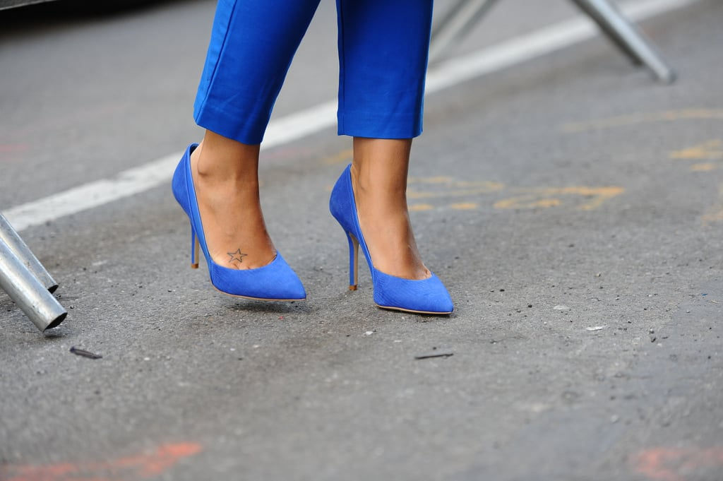 Coordinating cobalt blue pumps and trousers were monochrome-chic outside the Calvin Klein show.