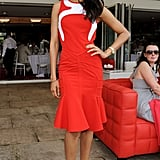 "Zoe Saldana defined ""red hot"" at the Audi International Polo match."