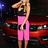Jennifer Hawkins brightened up the night when she arrived at a Range Rover launch event in Sydney on July 29.