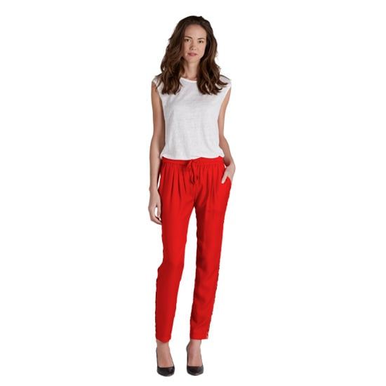 While covering Paris Fashion Week, I lived in my pair of Joie drawstring pants ($268). The silk keeps them polished, the printed tuxedo-stripe piping gives them a little flair, and this poppy red color goes a long way in making a statement. But let's be honest: it's really all about that elastic waistband. There's no more comfortable dress pant in my closet. — KS