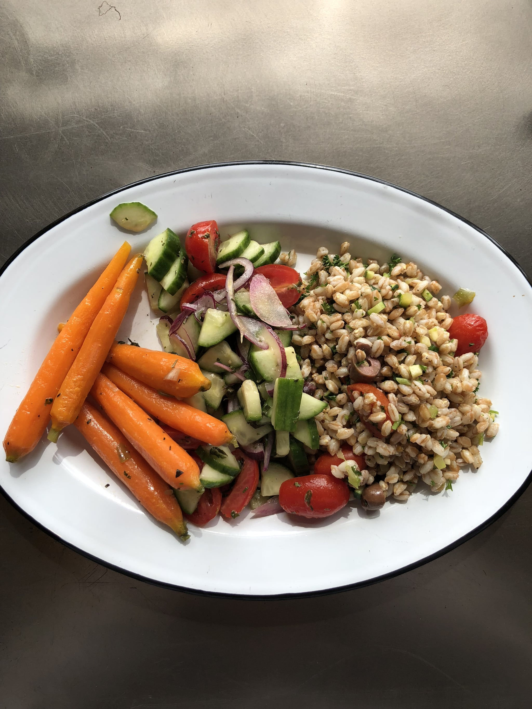 Meal Two - Farro, cumcumber salad and carrots. I definitely did not want to eat this.