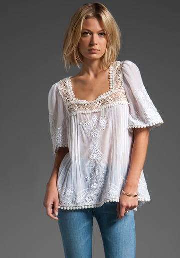 Delicate lace and embroidery make this peasant top a standout you'll have for years.   Tracy Reese High Low Peasant Top ($330)