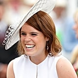 At the Qatar Goodwood Festival in 2015, Princess Eugenie wore a spectacular white fascinator that sat askew on her red hair.
