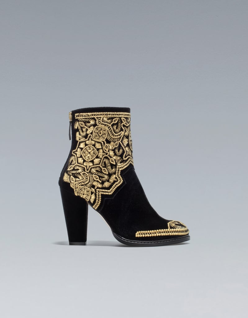Zara's Gold Embroidered Ankle Boots ($169) are the perfect way to cap off your needlepoint look.