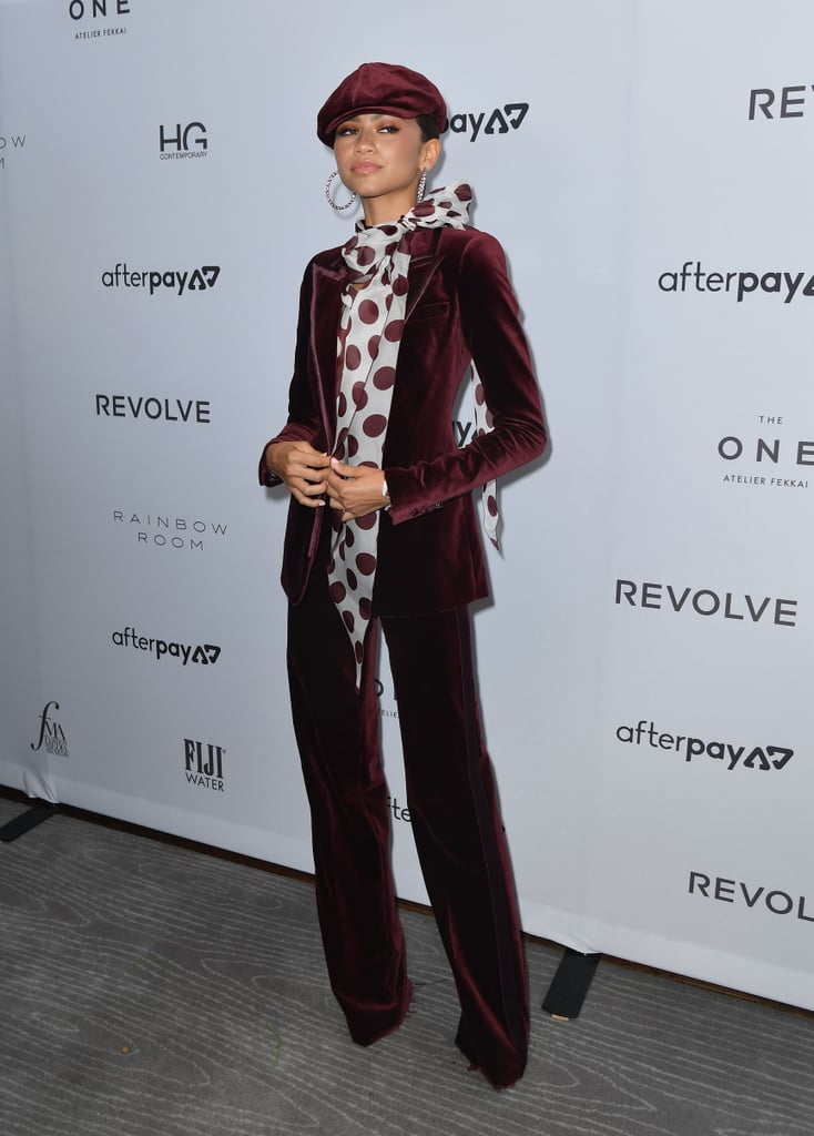 Zendaya's Tommy Hilfiger Red Velvet Suit at Fashion Week