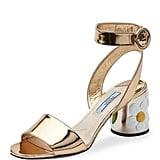 Prada Floral-Heel Ankle-Wrap Sandal