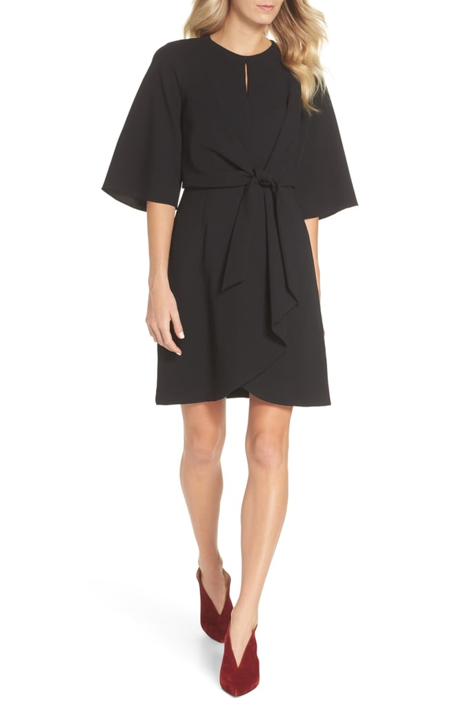Tahari Tie-Front Crepe Sheath Dress