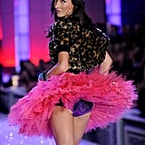 Jacquelyn Jablonski gave a peek under her tutu at her Victoria's Secret lingerie.
