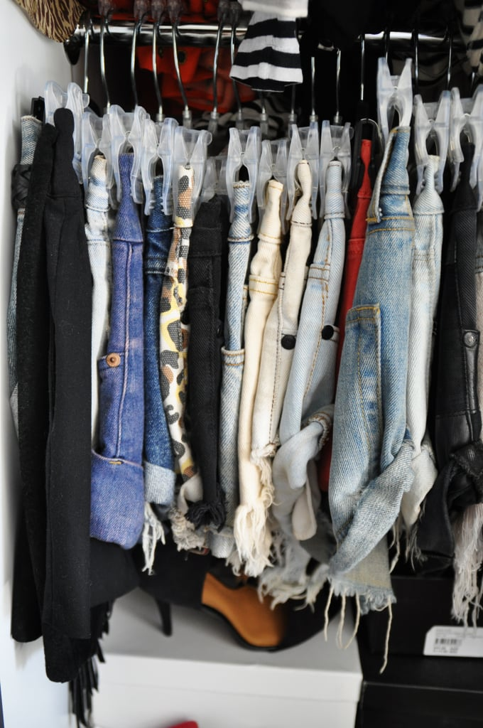 Everyone knows I love shorts, and I actually can't fit into one shot ALL of my shorts (I think I'm pushing 50 pairs!!!). All my shorts need to be hung, and I have them grouped by fabric— i.e. denim, leather, crochet, silk. . . the list goes on. They are without a doubt my wardrobe essential.