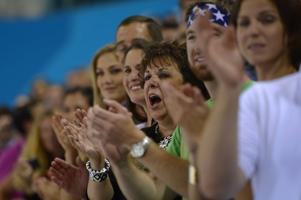 Megan Rossee sat with boyfriend Michael Phelps's family at the Olympics in July.