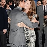 Tom Cruise and Melissa Leo greeted each other at the Oblivion premiere in Hollywood.