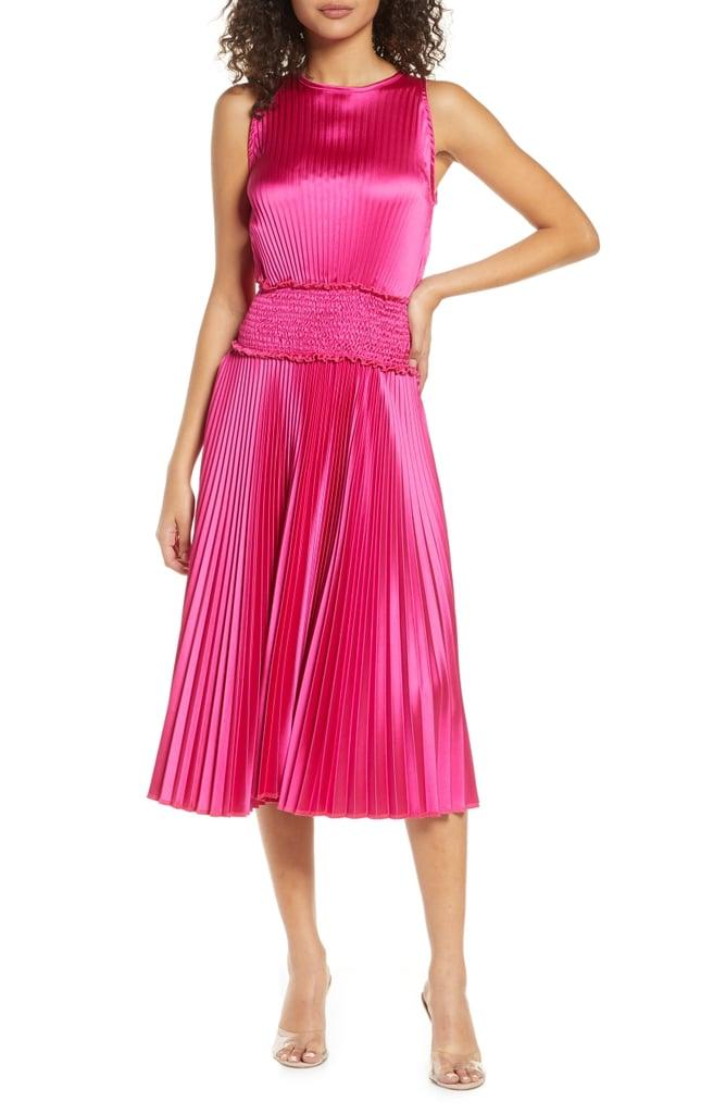 Fraiche by J Pleated Satin Cocktail Dress