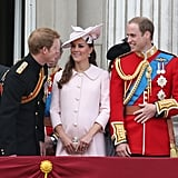 Prince Harry chatted with Will and Kate as they prepared for the flypast.