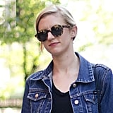 Round tortoiseshell frames lent cool quirkiness to the standby denim jacket. Source: Adam Katz Sinding