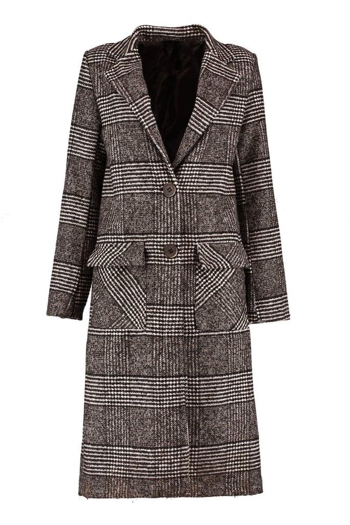 Boohoo Louisa Check Wool Look Coat   Winter Coats 2018