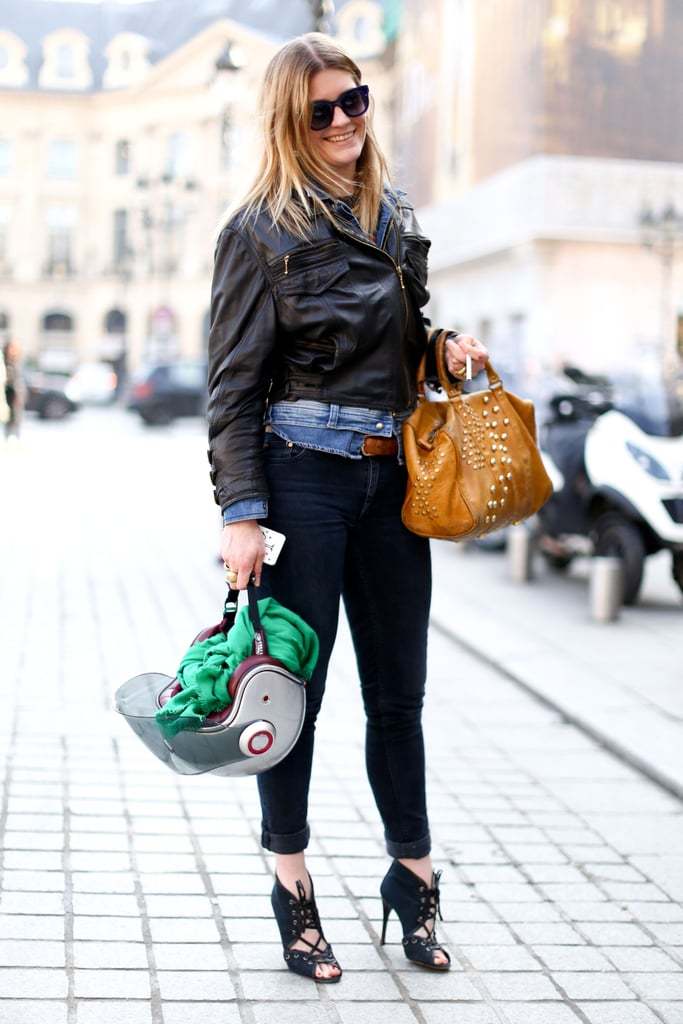 Leather and denim paired up for a street-chic effect.
