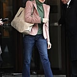 Feeling more sophisticated? Try Penelope Cruz's approach to denim. Her peach-toned blazer and green top were a fun colorblocked complement to her flared jeans.