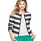 We love the sheer versatility of Gap's stripe twill jacket ($88). Pair it with a fitted sheath and pumps for your next power meeting, and later into the weekend with a tank top and cutoff shorts for a picnic at the park.