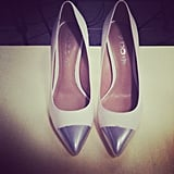 After a pair of your own metallic cap-toe pumps? FabSugarTV's showing you how to DIY your own pair soon — stay tuned!