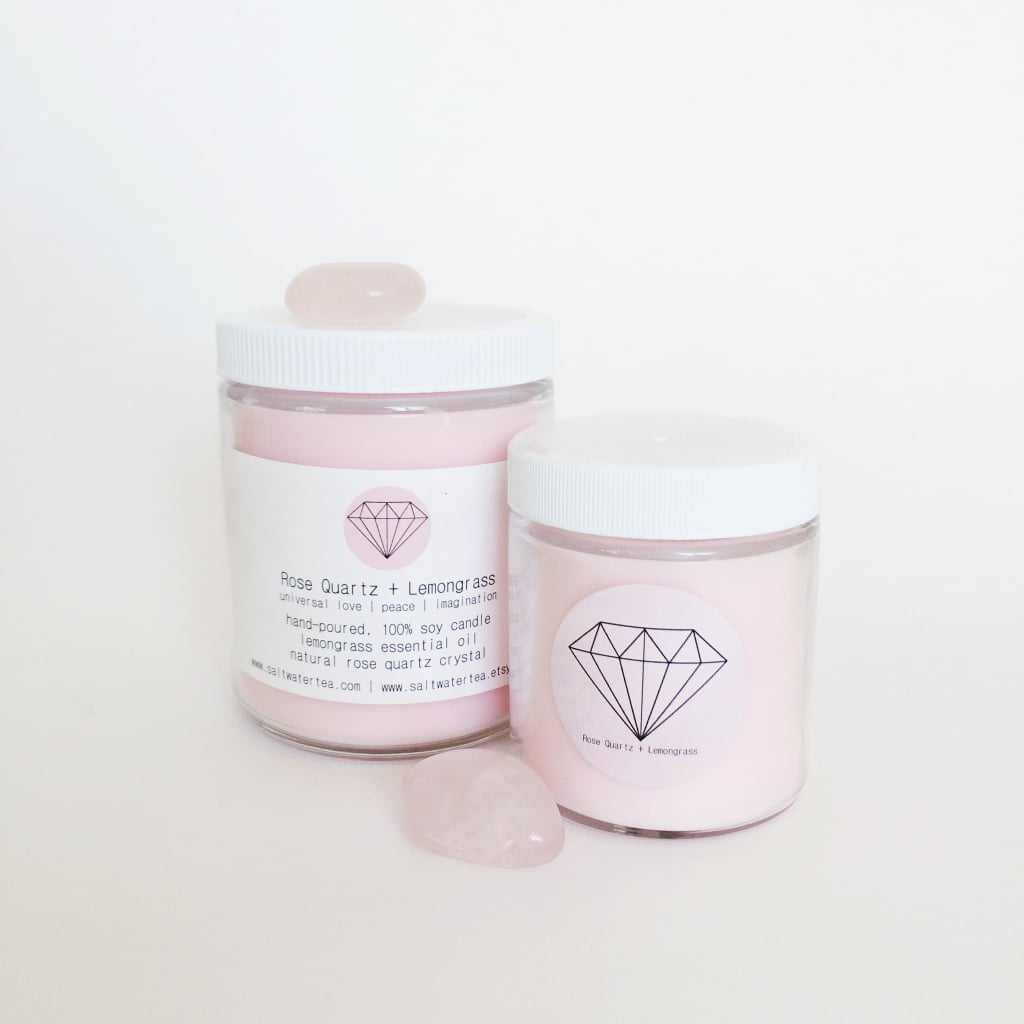 Rose Quartz and Lemongrass Soy Crystal Candle ($26)