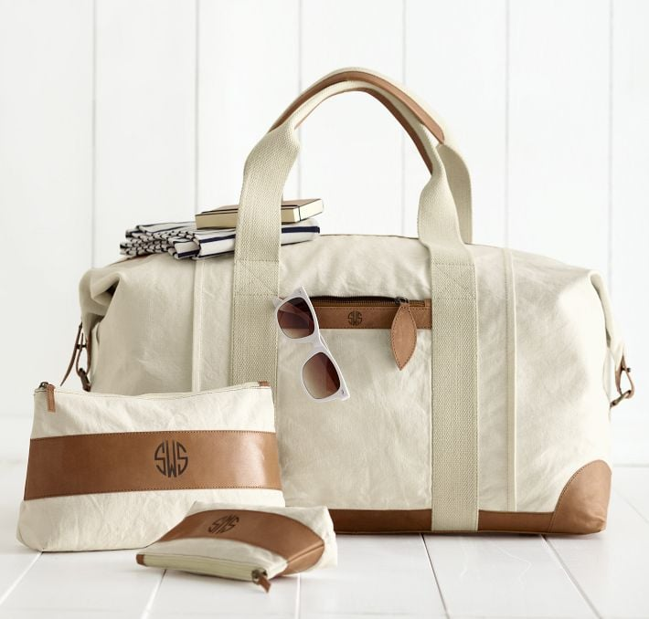 This Durable Canvas With Leather Weekender Bag 199