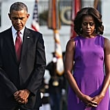 Outside the White House, President Obama and First Lady Michelle Obama bowed their heads during a moment of silence honoring the 9/11 anniversary.