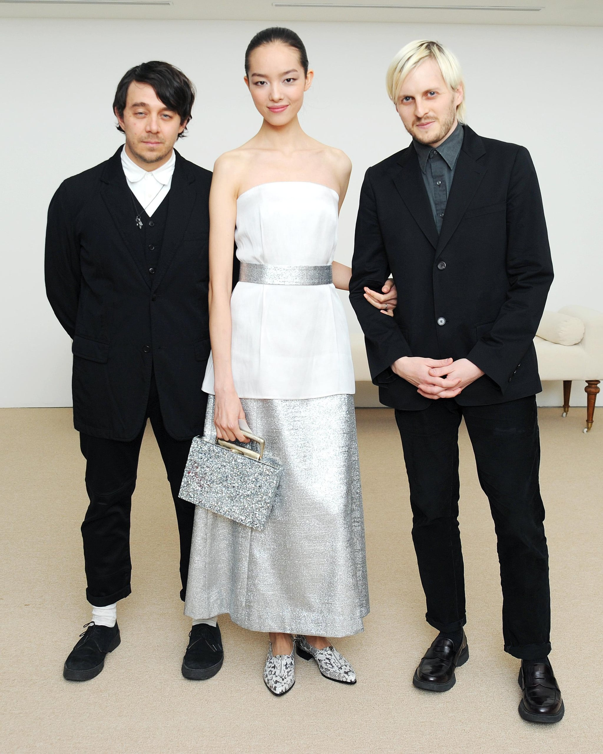 Shane Gabier and Chris Peters of Creatures of the Wind with model Fei Fei Sun