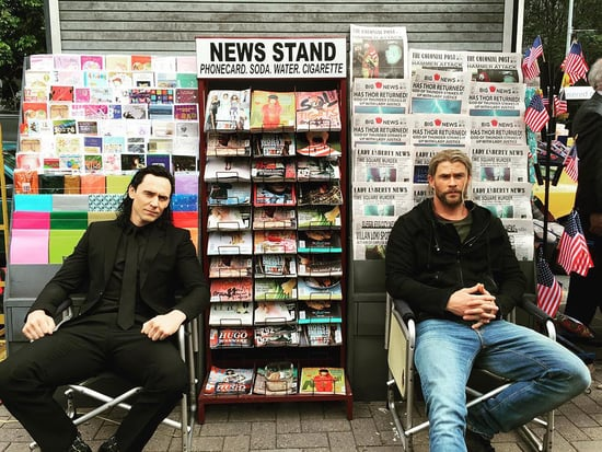 Tom Hiddleston Returns as Loki (Smarmy Wig and All) on Set of Thor: Ragnarok with Chris Hemsworth