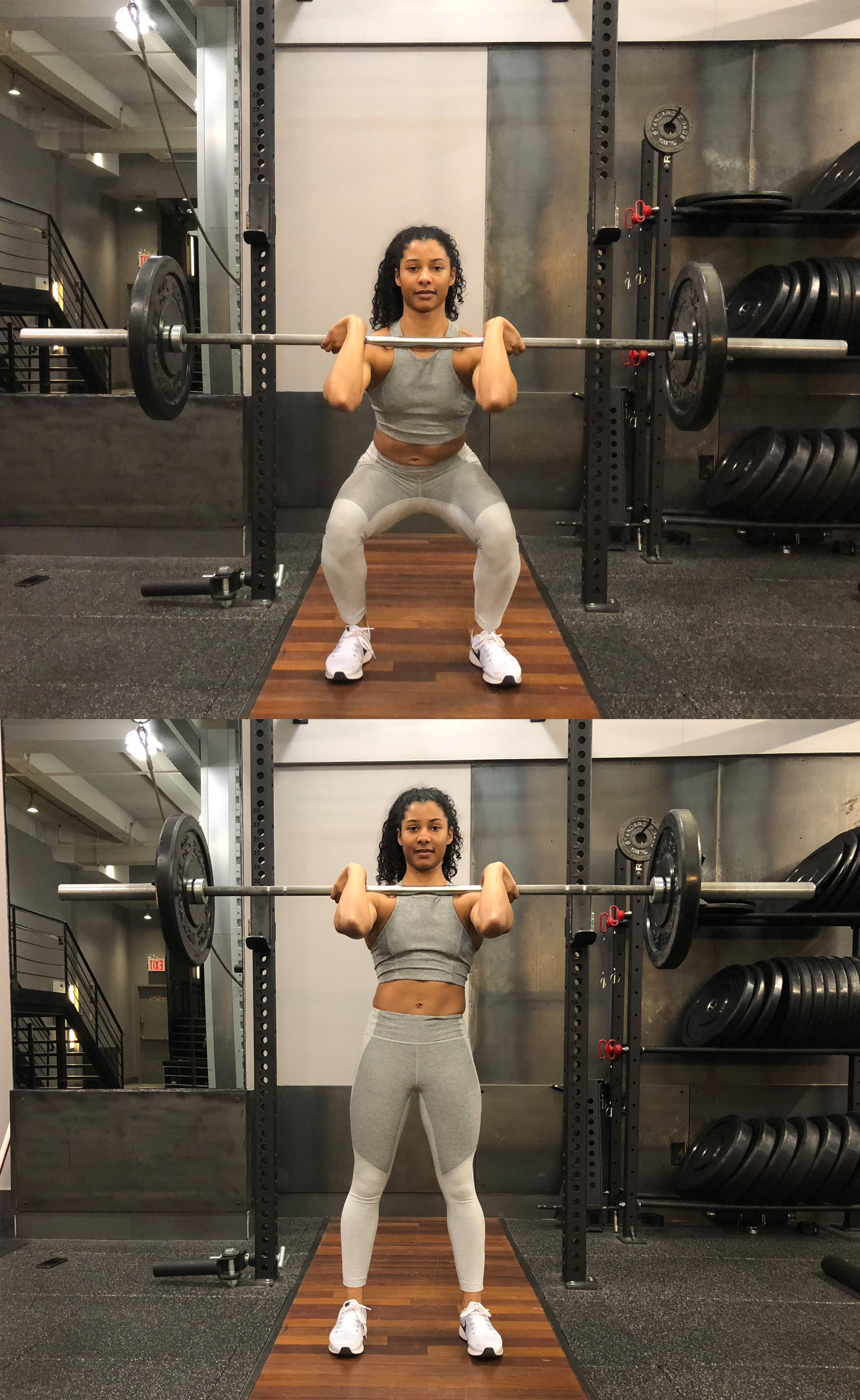 Front squatting with a barbell. Front squats with dumbbells 64
