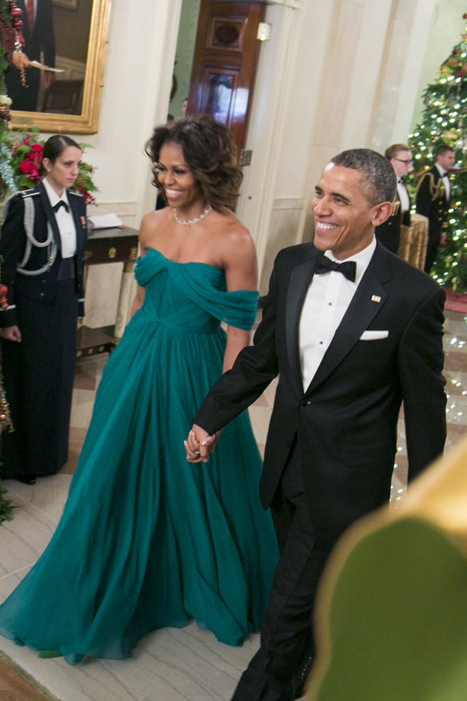 Wearing Marchesa at the 2013 Kennedy Center Honorees Reception.