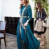 الملكة رانيا الملكة رانيا بثوب أزرق مخضر في احتفال الثورة ال