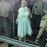 Lindsay Lohan entered her progress report hearing.